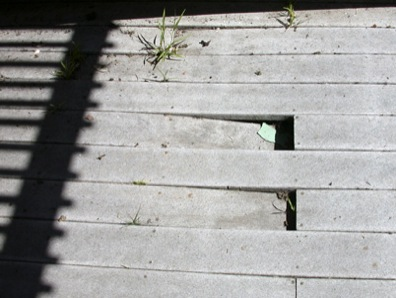 The Wrong Way - A deck that has improperly spaced decking, which voids warranties and promotes warping and pooling.